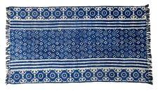 3x5 Ft Tie Dye Rug Cotton Carpet Indigo Blue Large Area Rug Block Print Rag Rug