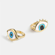 2Pcs Couple Vintage Evil Eye Finger Ring Eyeball Punk Goth Jewellery