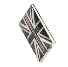 Thin Red Line Union Jack Metal Tie Pin Lapel Badge Fire Fighter & Rescue Fireman