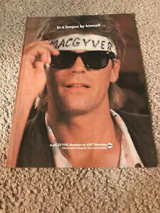 Vintage 1986 MACGYVER ABC SHOW Poster Print Ad JIM MCMAHON SPOOF HEADBAND 1980s