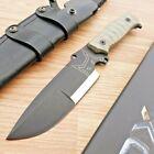 "Fox Sherpa Fixed Knife 5.5"" D2 Tool Steel Full Blade Green Canvas Micarta Handle"
