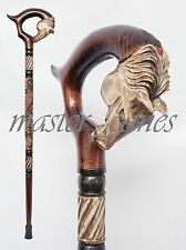 CANE WALKING STICKS EXCLUSIVE HANDMADE HORSE GALICIAN CARVING WOOD LUXURY