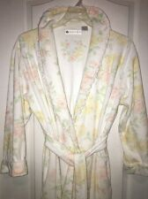 Eileen West Wrap Robe Long Size Small Floral Roses French Terry