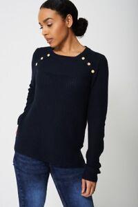 TOPSHOP LADIES WOMENS COMFY Shoulder Button Detail Cable Knit JUMPER  S M L XL