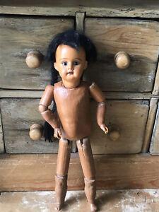 "Antique Doll Mulatto 13"" Inches Tall"