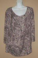 Womens Size Large Long 3/4 Sleeve Patterned Casual Fall Draped Blouse Top Shirt