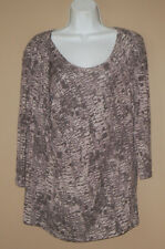 Womens Size Large 3/4 Long Sleeve Spring Fashion Gray Casual Blouse Top Shirt