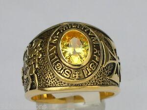 9x7 mm Knights Templar Masonic Mason November Yellow CZ Stone Men Ring Size 12