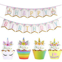 Bunting Banners Happy Birthday Unicorn Paper Cake Topper Birthday Decor Banner