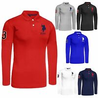 New Mens Long Sleeve Polo Shirt Top Branded Big Pony Lauren Tshirt