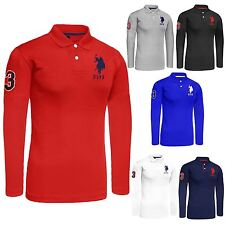 Mens Long Sleeve Polo Shirt Top US Polo Assn Branded Big Pony Lauren Tshirt