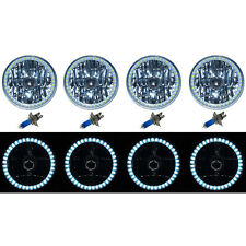 5-3/4 SMD White LED Halo Halogen Bulb Metal Headlight Angel Eye Clear Set Of 4