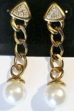 boucles d'oreilles percées chaine couleur or perle cristal diamant pendante /196