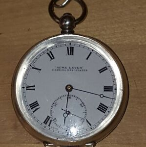 Antique H Samuel Solid Silver Pocket Watch & Albert Chain With George II Florin