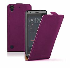 SLIM PURPLE Leather Flip Case Cover Pouch For HTC Desire 530 (+2 FILMS)