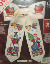 """Dimensions Avery CHRISTMAS FRIENDS WELCOME BOW Counted Cross Stitch Kit 17"""""""