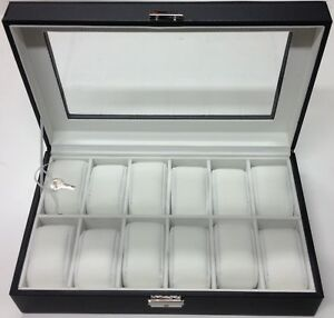 Faux Leather Pillow Watch Display Box 5 6 10 12 Grid Glass Lid