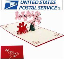 3D Pop Up Couple Cherry Tree Valentine Anniversary Wedding Greeting Card