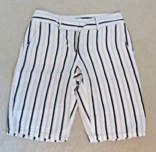 Ann Taylor LOFT Linen Cotton Flat Front Blue White Striped Bermuda Shorts Sz EUC