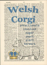 Welsh Corgi Crown Dog Traits Altered Art Print Upcycled Vintage Dictionary Page