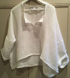 RIDLEY The Label linen / cotton placket front oversize top in chalk Sz M / L