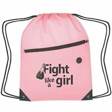 Fight Like a Girl Breast Cancer Awareness Pink Drawstring Sports Bag