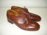 FLORSHEIM MENS BROWN ALL LEATHER SHOES SIZE 10 EE MADE IN ITALY FREE POSTAGE