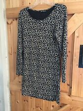 "Black Sequinned Dress Black Gold White Size 14"" Chest 38"". Stretchy Party Dress"