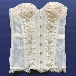 ADORE ME Sexy Corset White Floral Lace size M with Panties NWT Lolita - 872