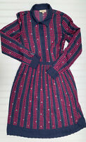 Modcloth Just My Typist Shirt Dress Clover Stripe Pleated Pockets Small