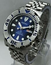 Seiko Blue Monster Custom mod 4R36A Day Date Diver's Automatic Men's Watch 628.