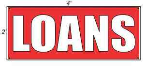 2x4 LOANS Red with White Copy Banner Sign NEW