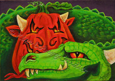Dragon Jack O Lantern Halloween Pumpkin Loberg mini HA31 Art + ACEO print EBSQ