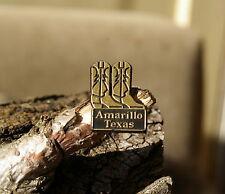 """Amarillo Texas"" TX Brown & Gold Tone Plastic Travel Lapel Pin Pinback"