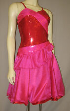 1-ONLY HOT PINK+RED HOLOGRAPHIC LYCRA+HOT PINK ORGANZA+RED SATIN  DANCE DRESS-M