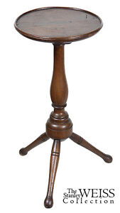 SWC-Rare Walnut William & Mary Turned Candlestand, c.1730