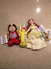 LOT OF 4 The Disney Store BEAUTY AND THE BEAST Characters Beanies Mini Bean Bag