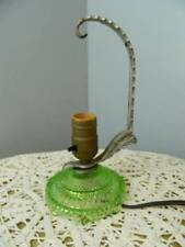Vtg green depression glass art deco metal arm table lamp light