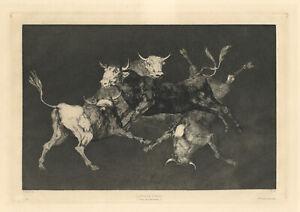 "Francisco Goya original etching ""Lluvia de Toros"" Pluie de Taureaux"