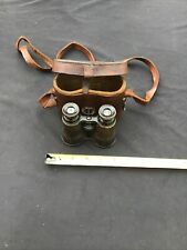 VINTAGE  WW1 BRITISH SMALL FIELD GLASS BINOCULARS IN LEATHER CASE.