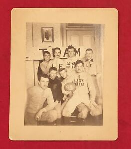 Antique 1892 Lake Forest College of Illinois Football Team Cabinet Photo 1890's