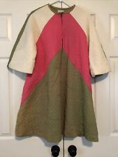 Vintage Kamore Olive Green & Pink Quilted Dress/Robe Preowned