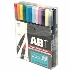 Tombow ABT Dual Brush Pen Pack of 12, 24, 36 colors (Basic Pastel Portrait)