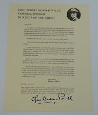 Vintage Lord Robert Baden-Powell Farewell Message Letter to Boy Scouts 1960s