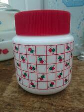 Vintage Milk Glass Storage Jar Retro 80s Red Green Squares Container VGC