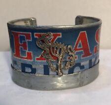 Kit Carson Sterling Silver Bucking Bony Pony Texas License Plate Cuff Bracelet