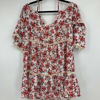 Umgee blouse small pom poms cold shoulder flowy boho floral casual comfortable