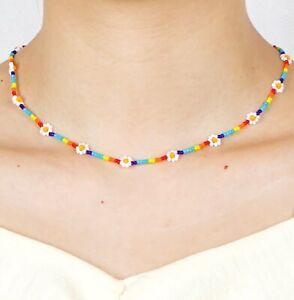 Colourful Rainbow Hippy Boho Acrylic Bead Daisy Flower Choker Necklace Vintage