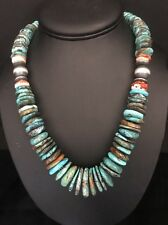 Native American Sterling Silver  Turquoise Bead Necklace 20 Inches.