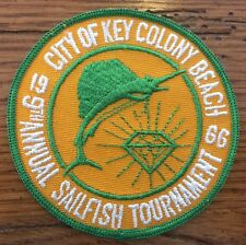 Vintage City Of Key Colony Beach Sailfish Tournament Patch 1966 Florida Keys